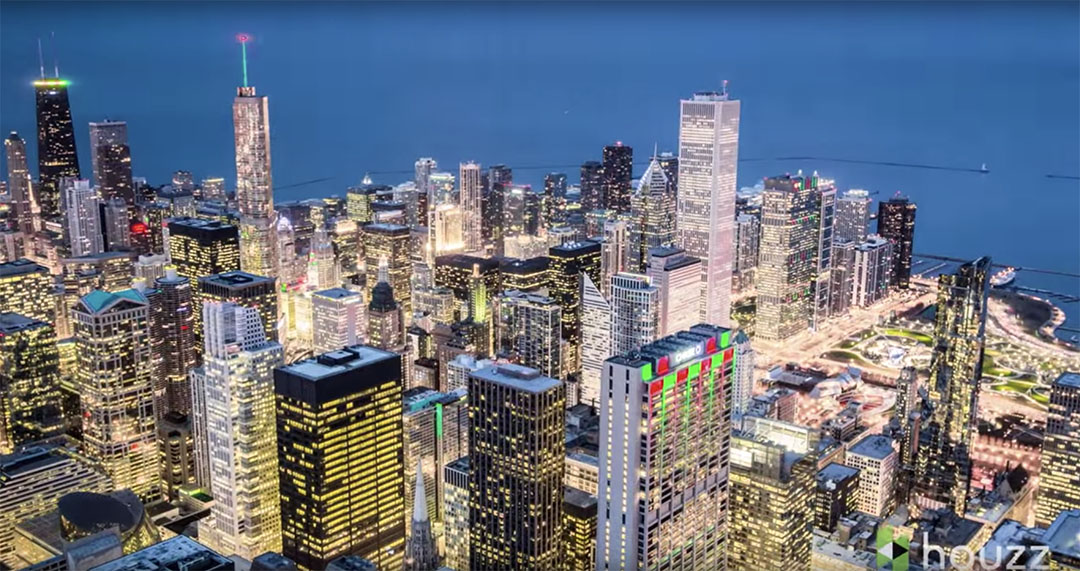 Chicago skyline by night
