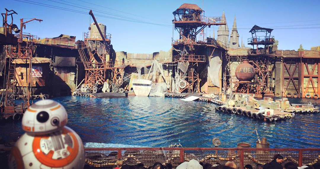 BB8 Waterworld show spectacle Universal Studios Hollywood Los Angeles