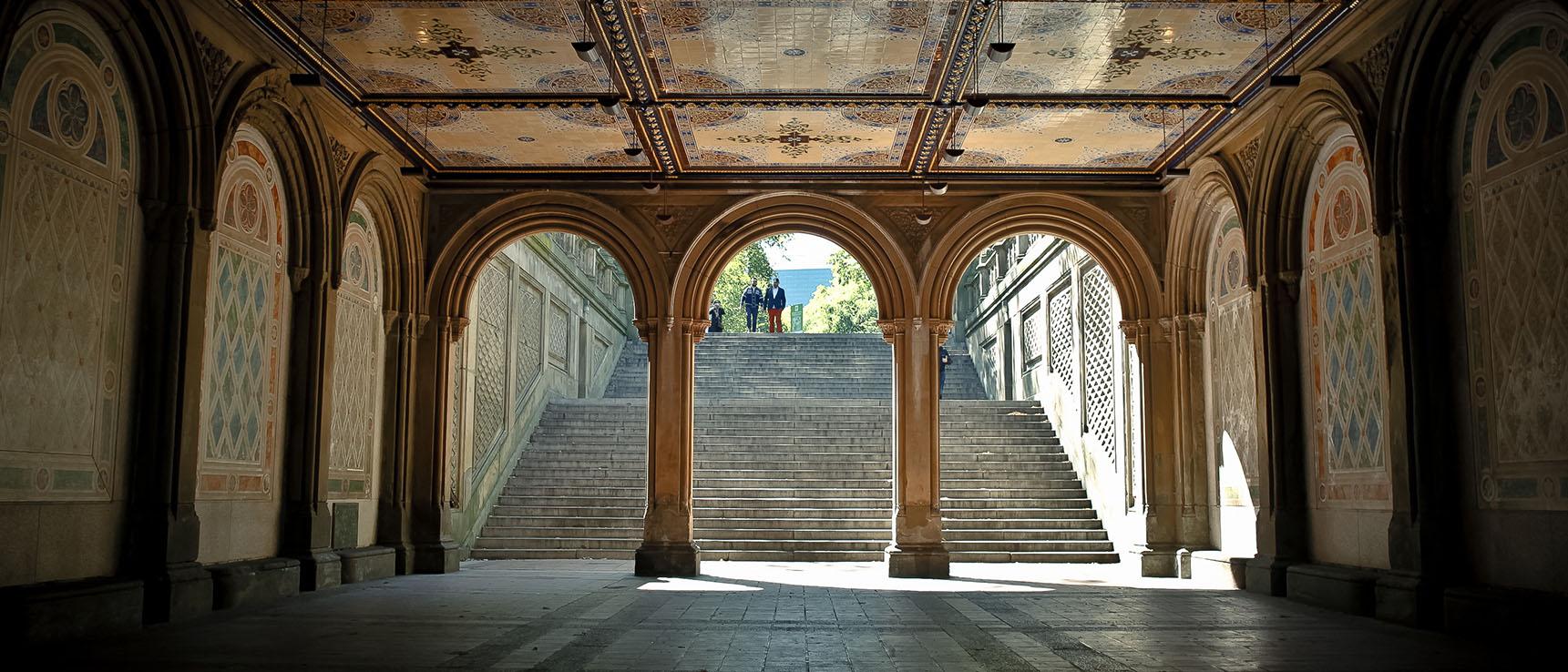Central Park Bethesda stairs monument architecture new york manhattan