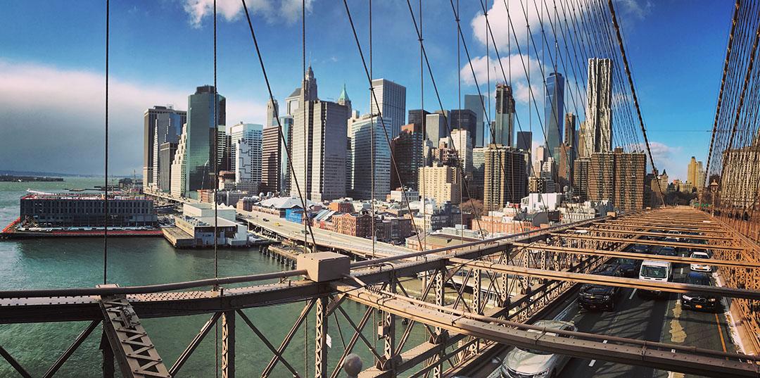 Brooklyn Bridge New York voiture skyline architecture