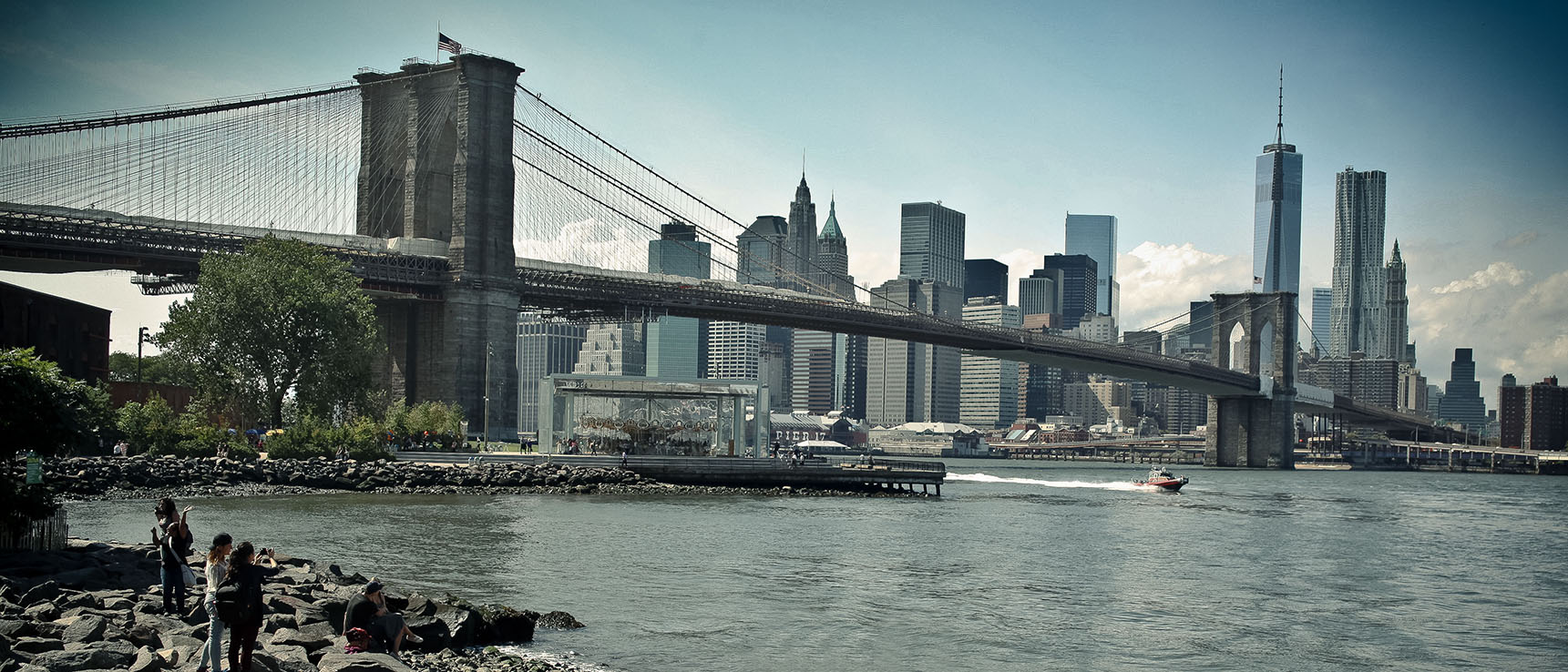 Brooklyn Bridge vue de manhattan skyline buildings pont river