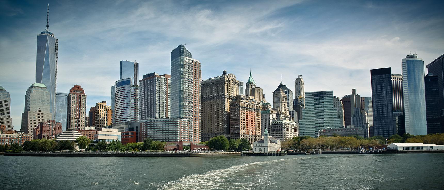 Financial District New York River Skyline