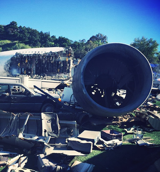 Plane crash universal studios hollywood Was of worlds Spielberg