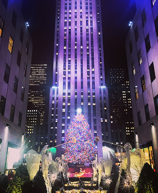 Rockefeller center Noel New York Sapin