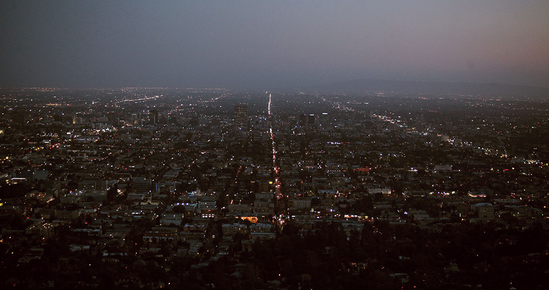 View from griffith observatory by night wide angle