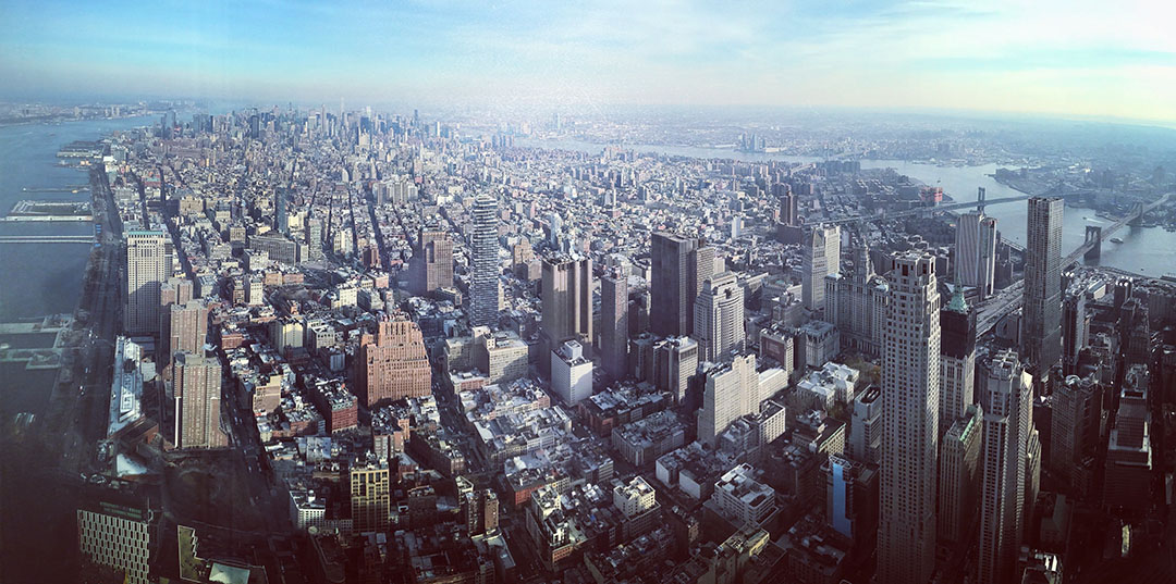 Vue depuis One World Trade Center Manhattan skyline New York
